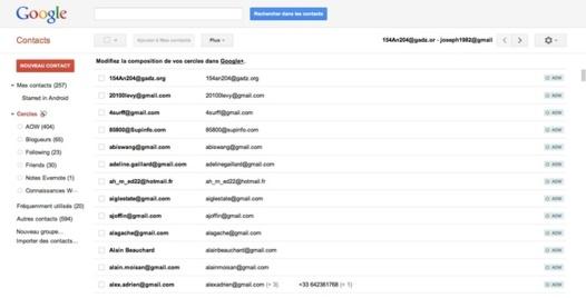 Google Plus - Les cercles apparaissent dans les contacts Google