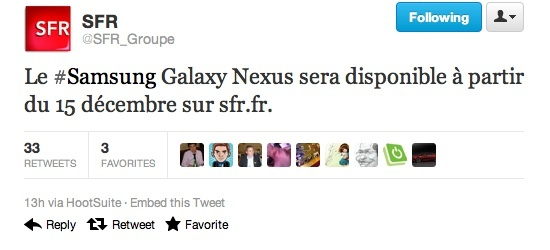 Le Galaxy Nexus confirmé par SFR pour  le 15 décembre