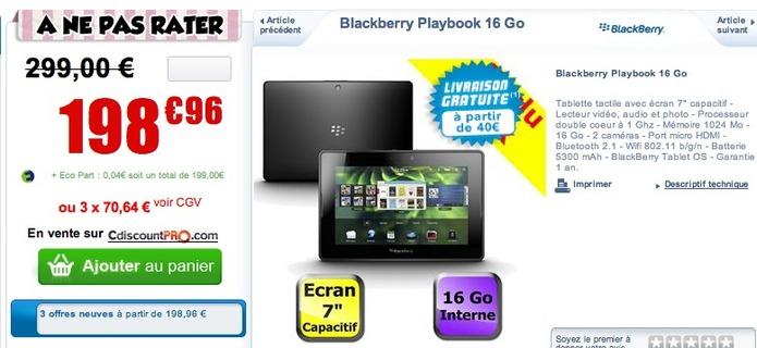 La Blackberry Playbook à 199 € chez CDiscount
