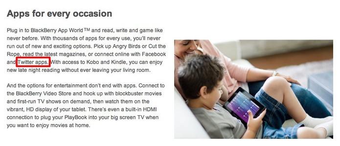 Twitter sur la Blackberry Playbook pour le 21 février ?