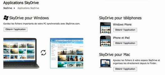 SkyDrive - Applications Windows et Mac disponibles