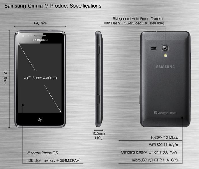 Samsung annonce un nouveau Windows Phone: l'Omnia M