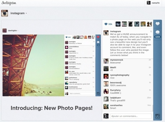 Instagram rafraîchit sa version web