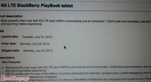 Une Blackberry Playbook 4G pour le 31 juillet 2012?