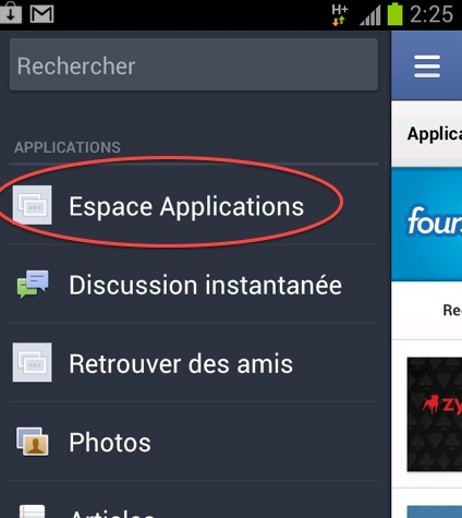 Facebook App Center sur Android