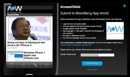 Blackberry App Generator - Créez votre application Blackberry