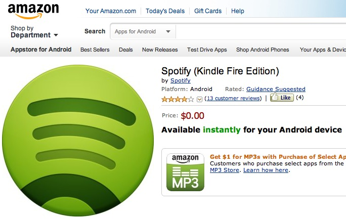L'appli officielle de Spotify pour Amazon Kindle Fire est disponible