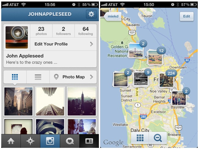 Instagram 3.0 - Nouveaux profils et les photos geolocalisées sur une carte
