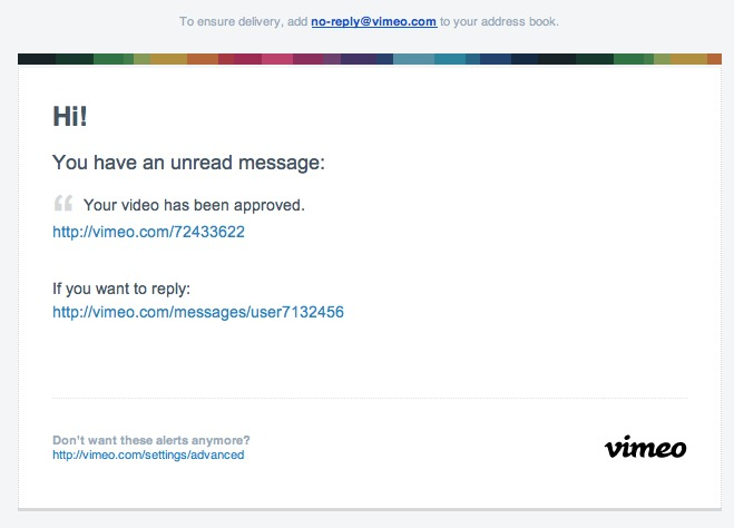 Du spam via Vimeo maintenant