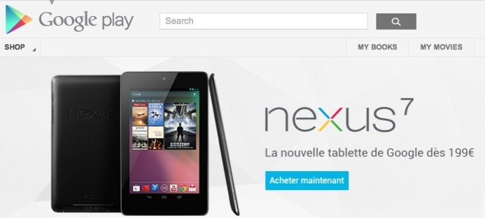 La Google Nexus 7 disponible à 199 € sur Google Play