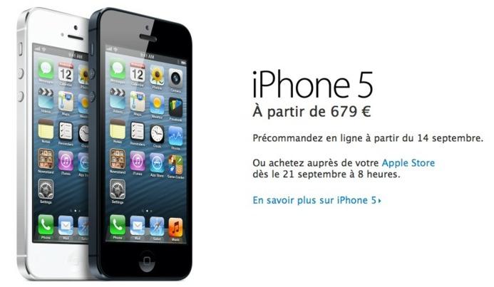 iPhone 5 - Le 16 Go à 679 € ...10 € par 0,1 pouce supplémentaire