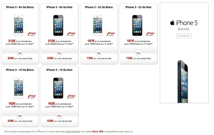 Free Mobile propose l'iPhone 5