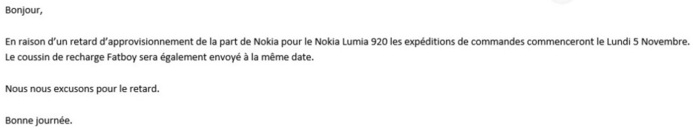 Du retard dans l'approvisionnement des Lumia 920 en France?