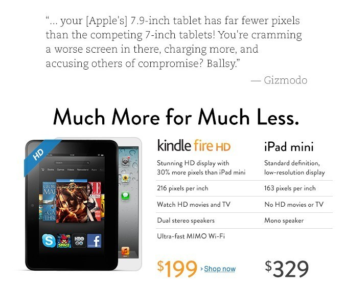 Amazon attaque l'iPad Mini d'Apple