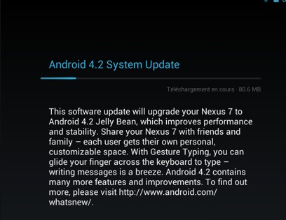 Android 4.2 disponible pour Galaxy Nexus et Nexus 7