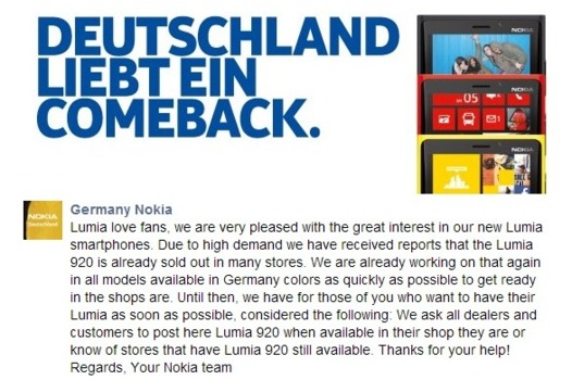 Le Nokia Lumia 920 en rupture de stock en Allemagne