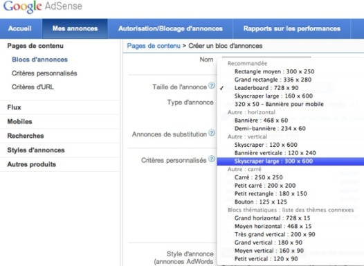 Google Adsense - un nouveau format d'annonce, 300x600