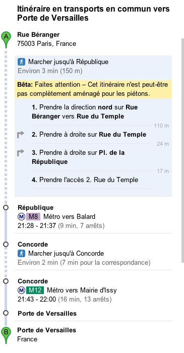 Google Transit - Se déplacer en Métro et RER