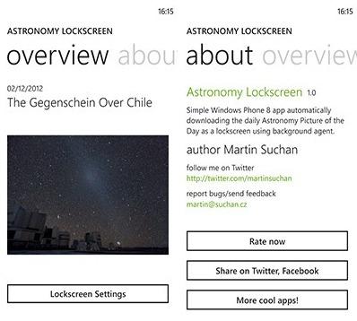 Astronomy Lockscreen - Des images de la NASA comme écrans d'accueil sur Windows Phone 8