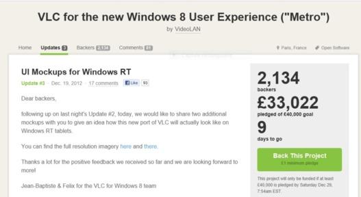 VLC à la recherche de soutiens financiers pour développer des applis pour Windows RT et Windows Phone 8