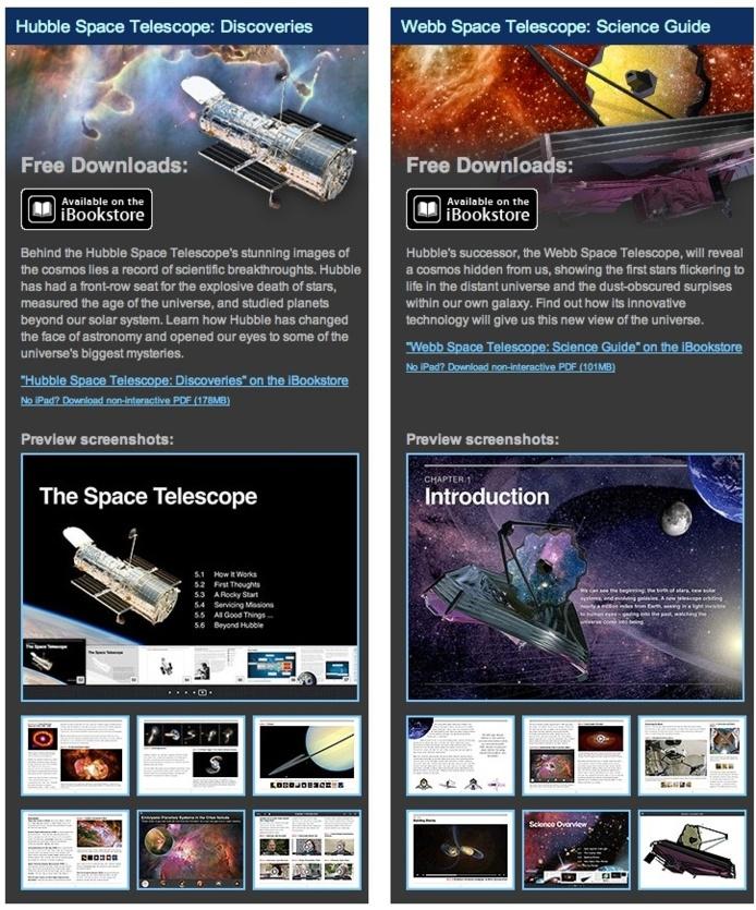 La NASA offre 2 e-books sur Hubble et le futur télescope