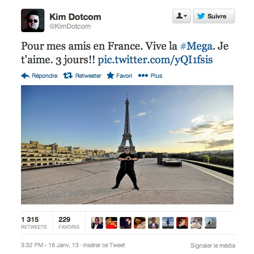 Mega - Kim Dotcom fait la promo en français