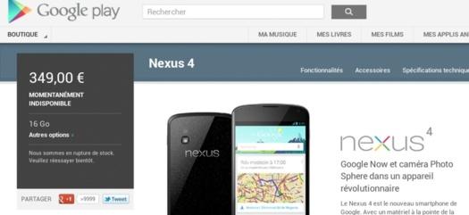 """Nexus 4 - Il bascule du statut """"Épuisé"""" à """"Momentanément Indisponible"""" sur le Google Play"""