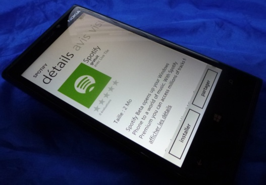 Spotify est disponible sur Windows Phone 8