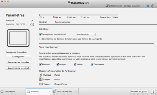 Blackberry Link parfaitement compatible avec la Playbook