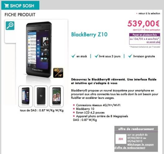 Blackberry Z10 - Disponible chez SOSH et Orange