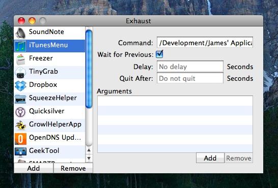 Exhaust - Séquencer le lancement de vos application au démarrage de votre Mac