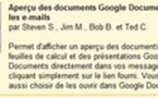 Gmail Labs - Aperçu des documents Google Documents dans Gmail