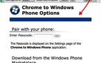Envoie de liens de Chrome vers Windows Phone 7
