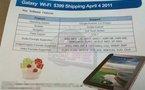 Samsung Galaxy Tab WIFI le 4 avril pour 399$